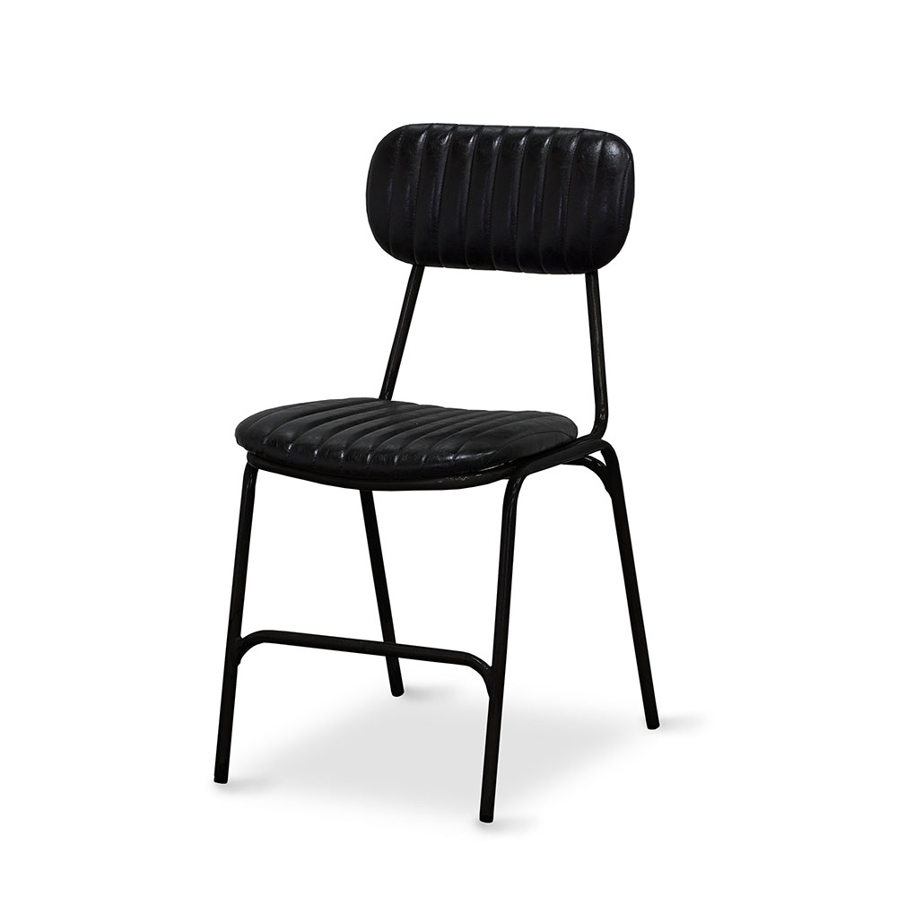 Dackar Vintage Black  Dimension W420 D520 H870 SH470mm  Style Industrial  Design Brushed metal frame, solid ply seat, high density foam. PU upholstery features single stitch detailing and piping.